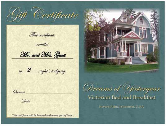 Bed and breakfast gift certificate for A bed and breakfast