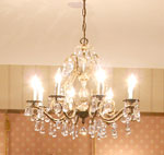 The chandalier in the dining room.