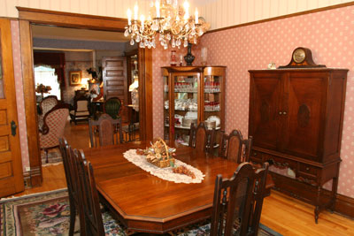 The traditional dining room is the usual place where breakfast is served.