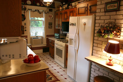The galley style kitchen at Dreams of Yesteryear bed and breakfast.