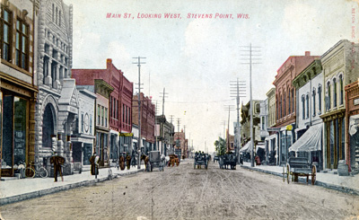 Old postcard of Main Street Stevens Point in Portage County WI