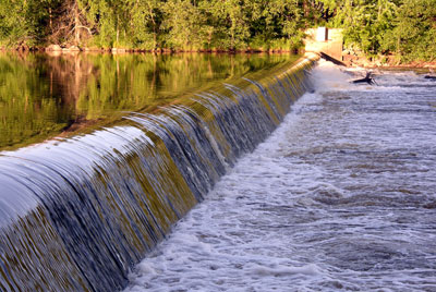 The Wisconsin River - spillway downstream from the papermill.
